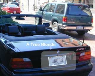 A true blonde pic from Cars, driving and traveling, Real-life signs and labels