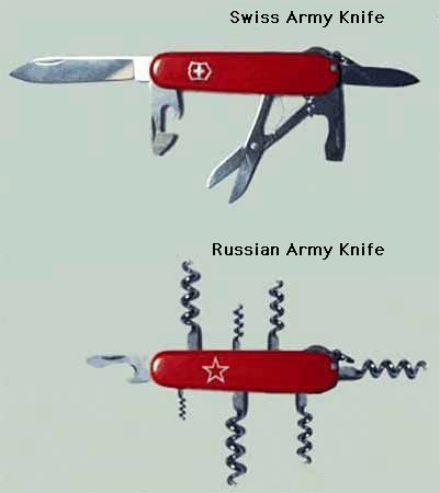 Swiss Army Knife v. Russian Army Knife pic from Drugs and Alcohol, Ethnic