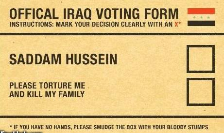 Official Iraq Voting Form pic from Ethnic, Politics